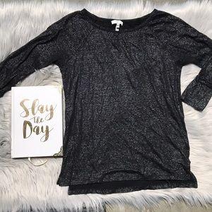 Joie Black Shimmer Long Sleeve Blouse